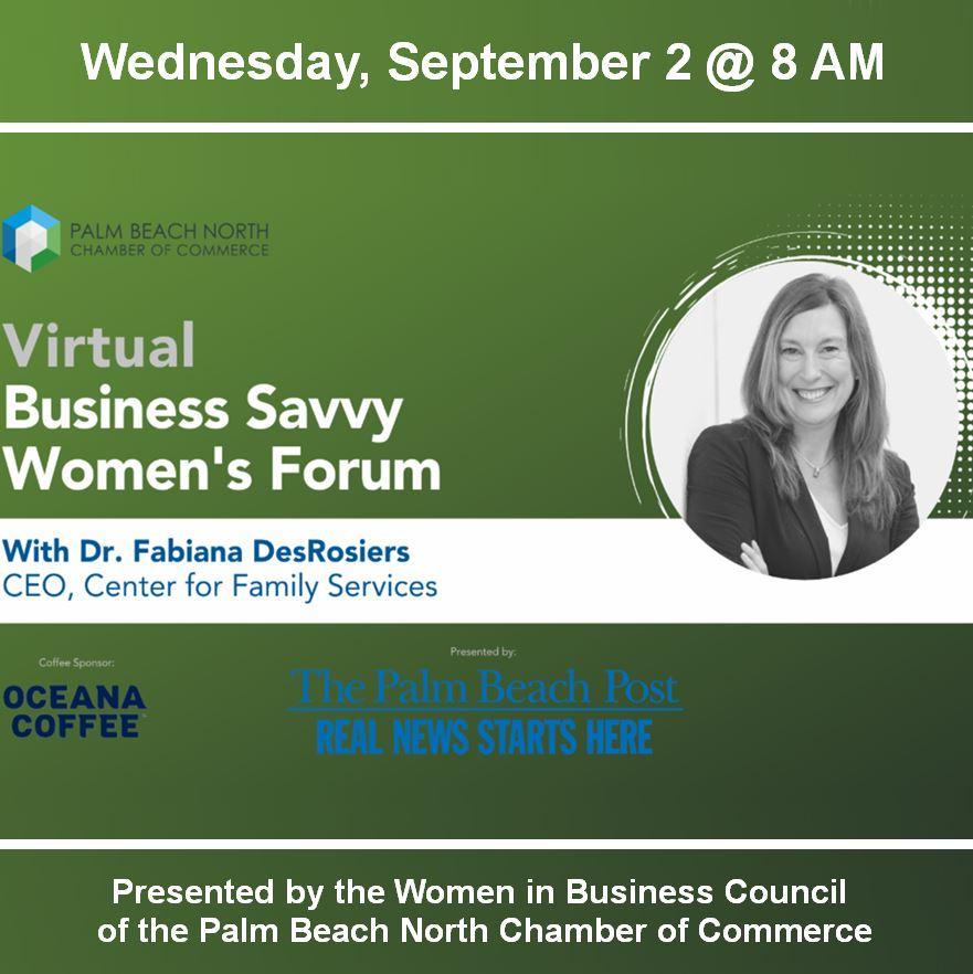 CFS CEO Dr. Fabiana DesRosiers To Facilitate Virtual Business Savvy Women's Forum